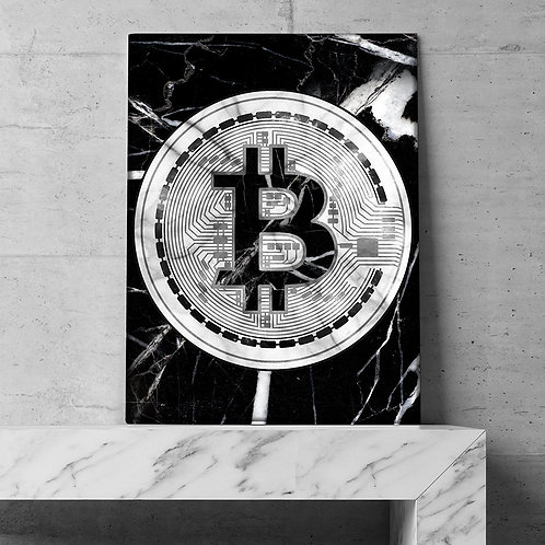 Marble Bitcoin Home Decoration Painting | Make Money Not Friends | Wall Art