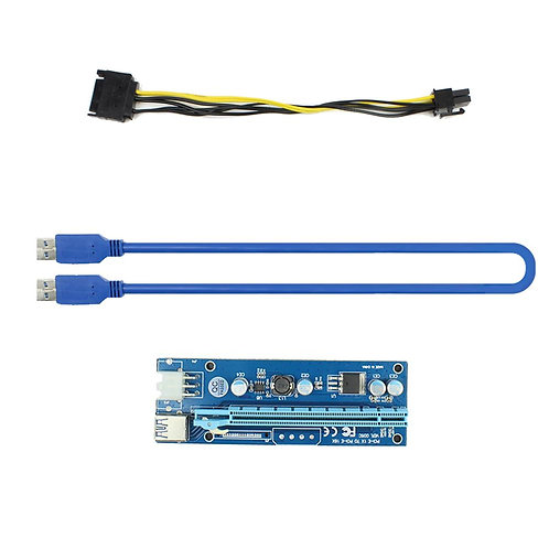 PCI-Express 1x to 16x Riser Card | USB 3.0 PCI-E SATA to 6Pin Power Cable