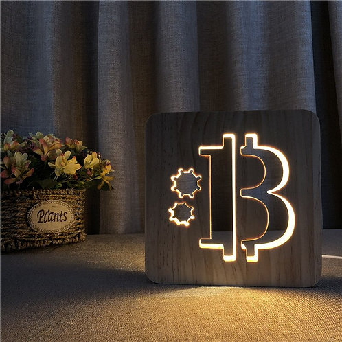 Bitcoin Shape Wooden 3D LED Lamp | Hollowed-Out Night Light | USB Power Supply