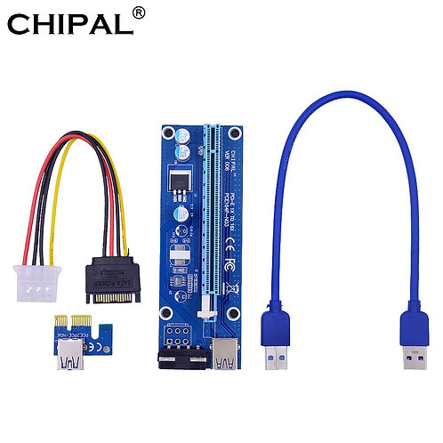 VER006 30cm PCI-E Riser Card | 1x to 16x Extender | USB 3.0 Cable/SATA to 4 Pin