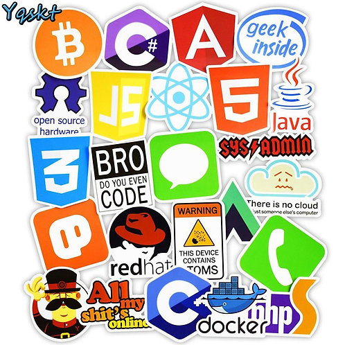 Cool Stickers! | 50 Piece Sticker Pack | Internet Java Html Cloud BTC and More!