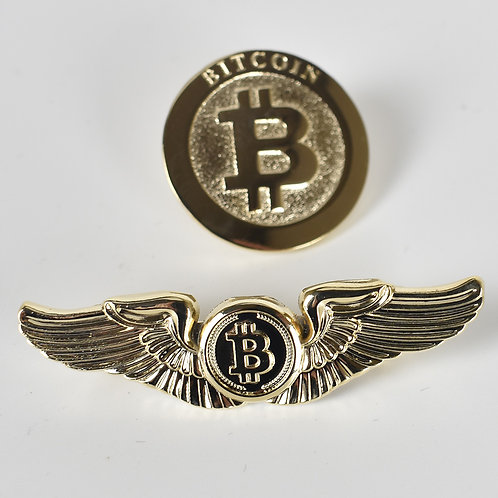 1 Piece Bitcoin Badge | Round Wings | Gold Plated Metal Badge | Fly