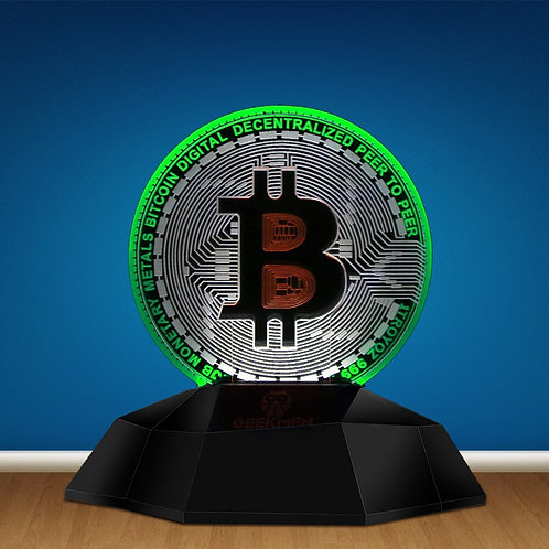 Metal Bitcoin Nightlight | Digital Decentralized P2P | 3D Illusion Nightlight