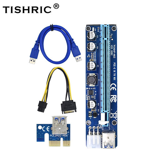 TISHRIC 008C | Molex 6 Pin PCI-Express | 1X to 16X | Cable for Bitcoin Miner