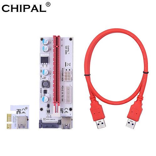 VER008S 60CM PCI-E Riser Card | PCI-Express 1x to 16x Extension | 4 Pin 6 Pin