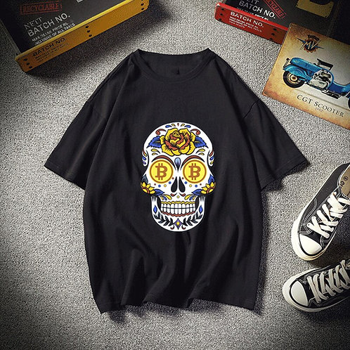 Bitcoin Skull Ulzzang T- Shirt | Men's & Women's | Aesthetic Tee | Harajuku
