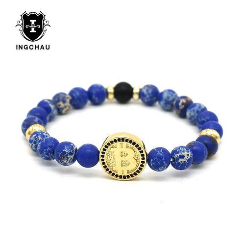 Luxury Bitcoin Bracelet   Blue Emperor Regalite Stone   Beaded Bracelet