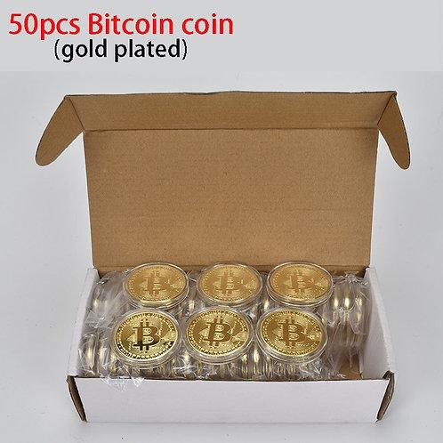 50 Piece Set | Bitcoin Coins | BTC | Metal Coins for Souvenirs