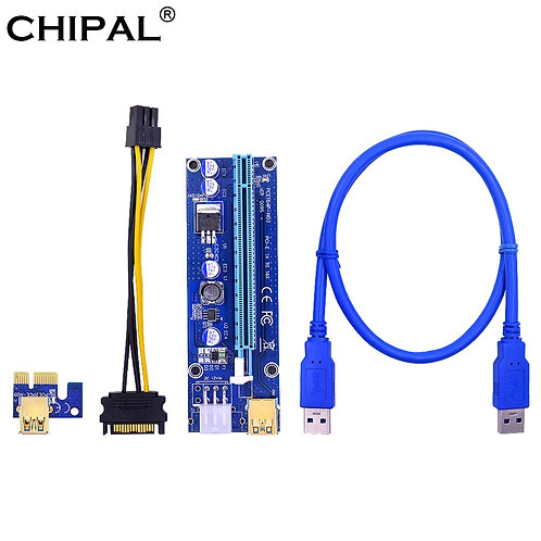 PCI-E Riser Card | PCI-Express Cards 1x 16x | Power Cable | 60cm USB 3.0 Cable