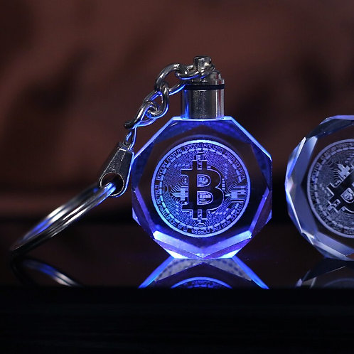 Crystal Bitcoin Keychain | Laser Engraved | Colorful LED Light Key Chain