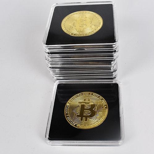 40mm Gold Bitcoin Coin | Acrylic Square Case | BTC LTC ETH XRP DASH | Metal Coin