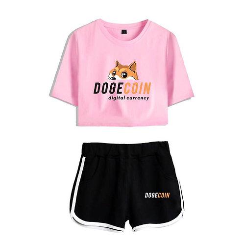 Dogecoin 2 Piece Set | DOGE | Short Sleeved T-Shirt AND Sexy Kawaii Short Shorts