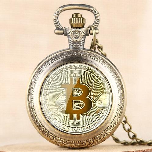 Bitcoin Design Quartz Pocket Watch   Numerals Display   Pendant