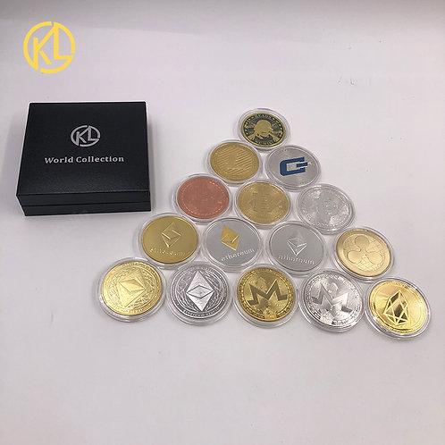 Commemorative Crypto Coins | Bitcoin Ethereum Litecoin Dash Ripple Monero EOS