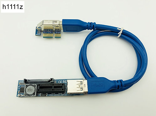 PCI-E Extender | PCI-E 1x to 1 Riser USB 3.0 Cable SATA Power for Motherboard