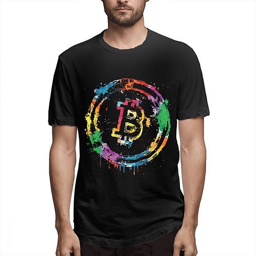 Colorful Bitcoin T-Shirt   Multi-Colored Tee   3D Print Graphic Tee   Summer