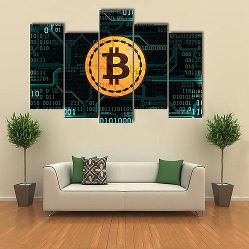 5 Panel Symbol Bitcoin Frame Wall Art | Canvas HD Print | Modular Pictures