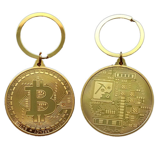 Gold Plated Bitcoin Coin Key Chain | Collectible Coin Art