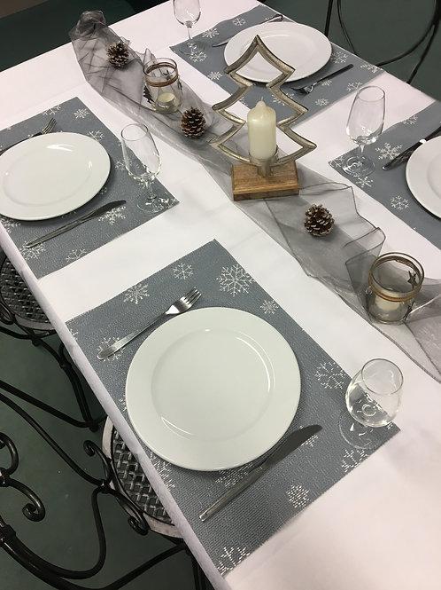 Tischset Miami Art.40515 Snowflake Grey/White