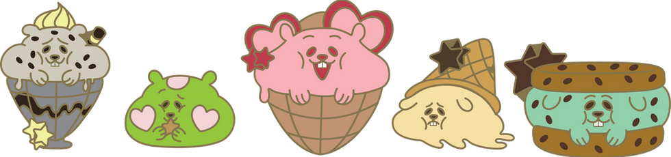 Ham Sweets Enamel Pin Designs