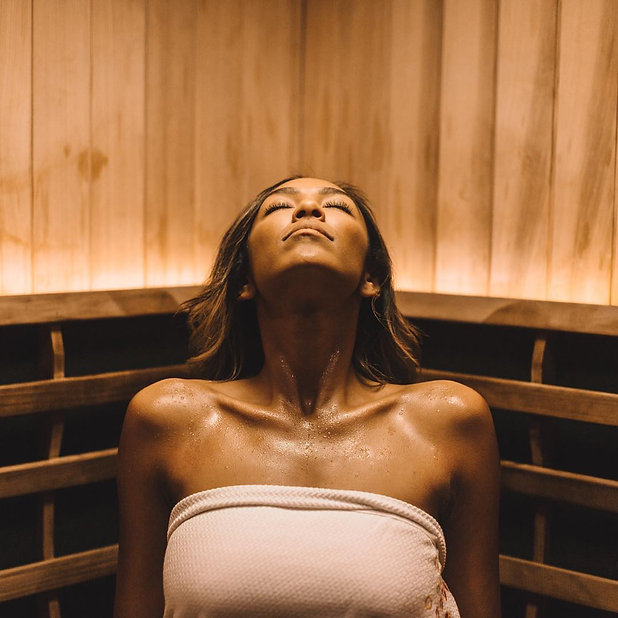 The profuse sweating achieved during your 45-minute infrared sauna session carries off deeply imbedded impurities and dead skin cells to leave your skin glowing and immaculately clean