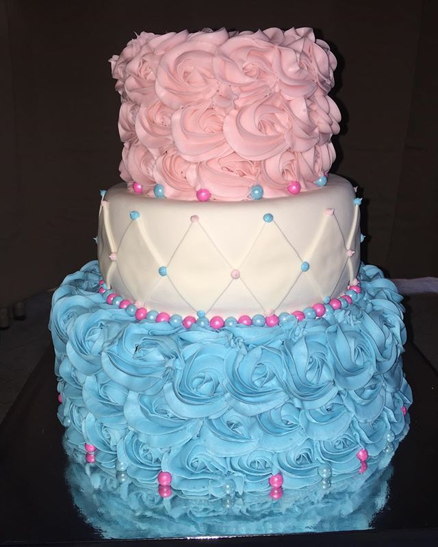 Baby Shower cake _TOP_ vanilla cake filled with pink buttercream _MIDDLE_ chocolate cake filled with