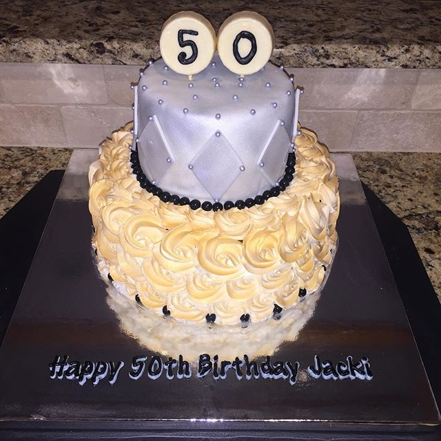 Happy 50th Jacki!!_Chocolate cake filled with cookie dough (bottom) and cookies & cream (top)