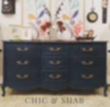 Here is the beautiful boho blue dresser