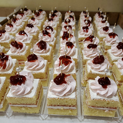 Strawberry cake Square on Plate