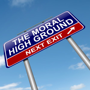 Illustration depicting a roadsign with a moral high ground concept. Sky background.