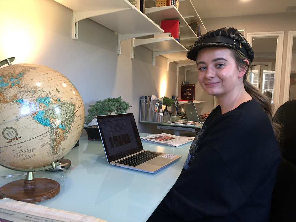 World Table intern, Sahalie Donaldson, at her desk in the WTSJ Lab.