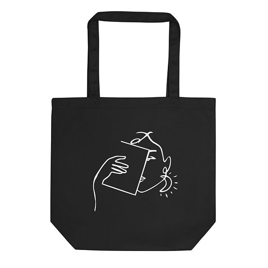 Resting Book Face Tote Bag