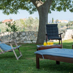 Sunloungers and barbecue in the garden