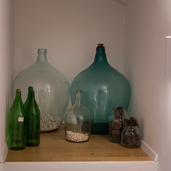 Antique glass bottles, for wine of course ;)
