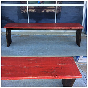Red Rustic Distressed Bench
