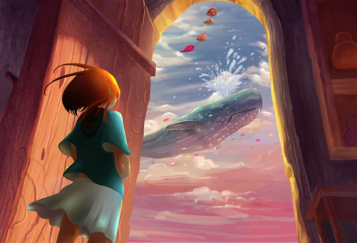 Menina e baleia Anime