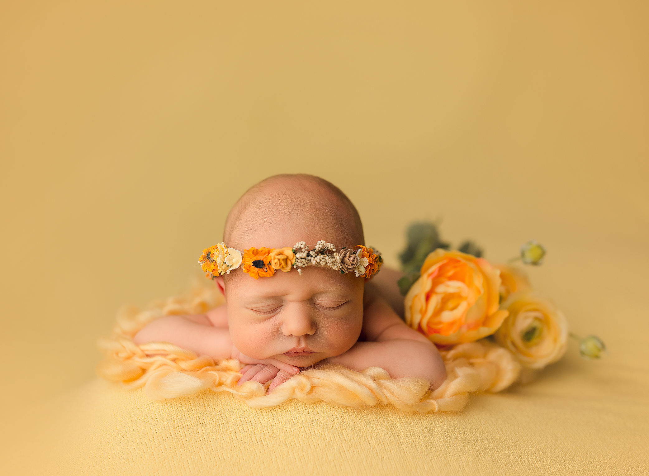 newborn baby photography girl yellow