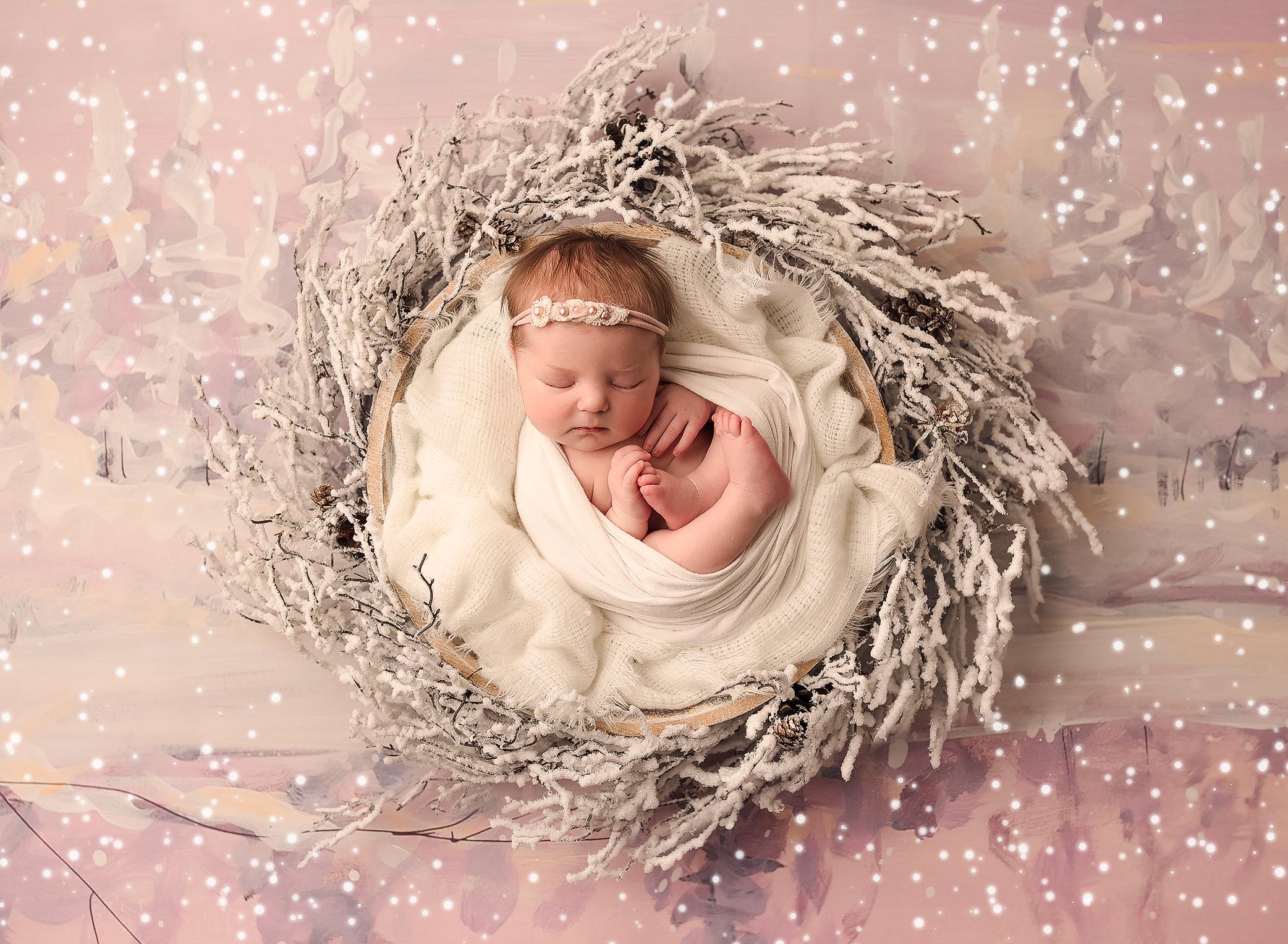 newborn baby girl snow winter setup