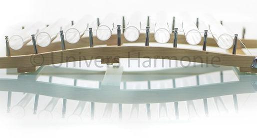 Quartzophone H2 Harpe de Cristal et son cadre arqué en érable canadien