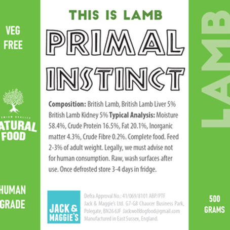 Jack Wolf Primal Instinct Lamb (500g)