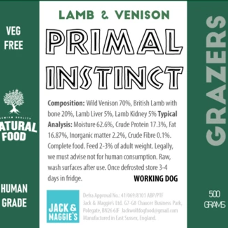 Jack Wolf Primal Instinct Venison & Lamb (500g)