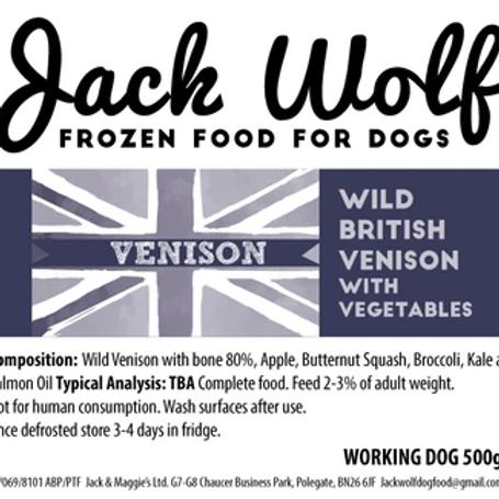Jack Wolf Working Dog Venison (500g)