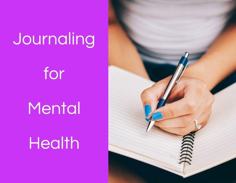 Journaling, mental health, woman writing, blank journal