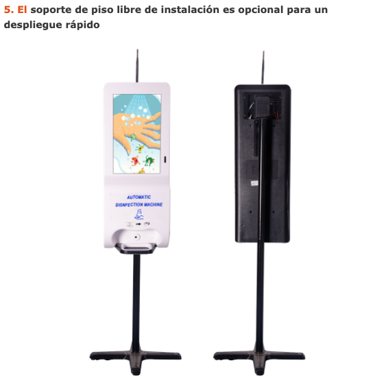 Quiosco dispensador de Alcohol en gel con interface de pantalla