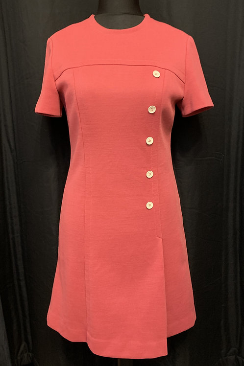 French Pink Pure Wool Shift Dress circa 50/60's
