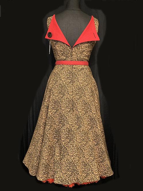 Bettie Page by Tatyana Red & Leopard Print 50's Swing Dress