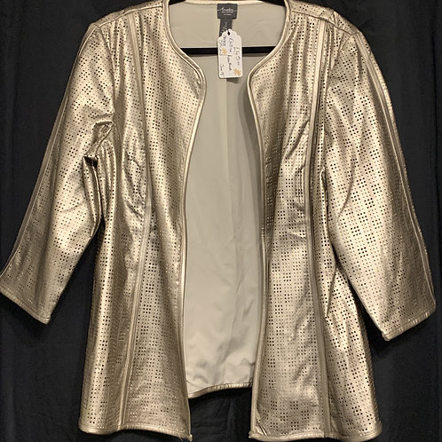 Chico's Travelers Collection Gold Faux Leather Cut-out Collarless Jacket size 18