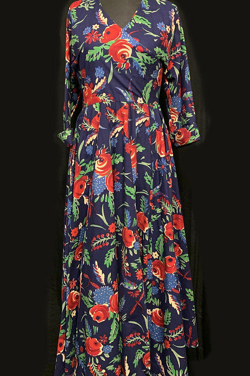 DROOPY & BROWNS Navy Long Sleeved Red Roses Xmas Dress size 14 circa 80/90's