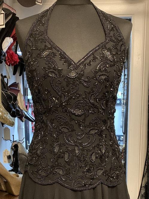 Adrianna Papell Black Silk Beaded Fin 'n' Flare Dress size 8