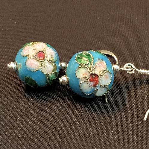 Blue Painted Chinese Cloisonné Bauble Drop Earrings